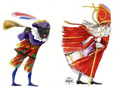 Sinterklaas en Zwarte Piet op de tocht.
