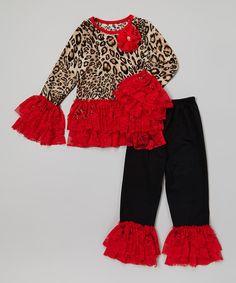 Red Cheetah Lace Ruffle Top & Black Leggings - Toddler & Girls by Royal Gem #zulily #zulilyfinds