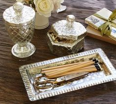Mercury Glass Accessories | Mercury Glass Desk Accessories | Pottery Barn... Could ... | For the ...
