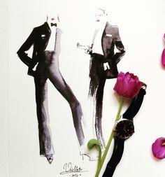 YSL fashion illustration by Viola Bąbol