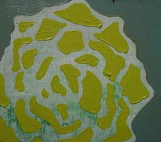 """5"""" x 6"""" Original Acrylic Painting on Wood - Mustard Flower with Green Wash. via Etsy."""