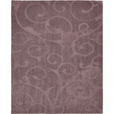 Unique Floral Shag Grey/Off-White Abstract Area Rug (8' x 10') (Purple), Size 8' x 10' (Polyester, Solid)