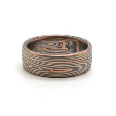 Rustic End-Grain Mokume Gane wedding band in 14k Red Gold, Palladium, and Sterling Silver with Etched and oxidized Finish