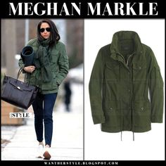 Meghan Markle in green canvas jacket, blue pants and white sneakers