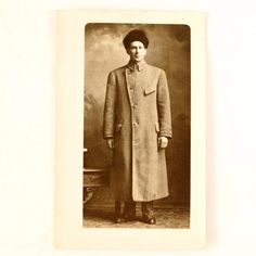Antique Photo Post Card of Man in Long Coat with Fur Hat (c.1890s)