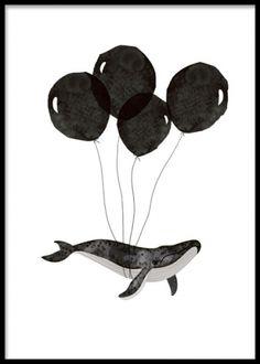 Black Whale, plakat. Børn Plakater. Posters. www.desenio.dk