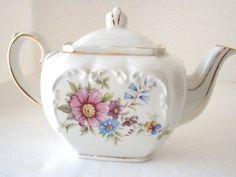 Vintage Sadler of England, Tea Pot, Floral Pattern, Gold Trim, Signed. $14.00, via Etsy.