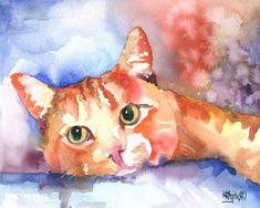 Gato atigrado lámina de Acuarela Original arte por dogartstudio