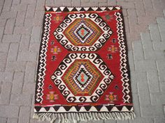 Turkish Hand made organic Mut kilim Kelim rug by TurkishKilim