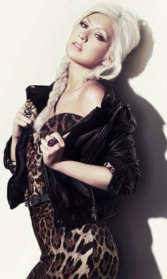 Leather & Leopard - Christina Aguilera: INSTYLE magazine 2010