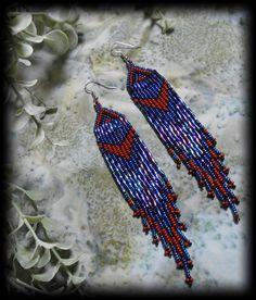 Western Style Beaded Earring Medium / River by PersephonesPlace