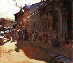 """Kim English   SHOW WORK   """"Antioch, Turkey"""" 13 x 15"""" framed original oil"""