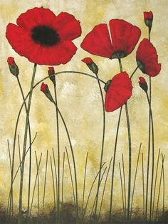 """Chicago Contemporary Art :: """"Poppies In The Summer"""" Poppy Giclee Print On Canvas"""