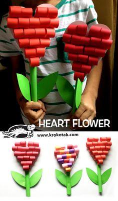 heart flower - Mother s day kids crafts - Kids Birthday Crafts, Valentine's Day Crafts For Kids, Valentine Crafts For Kids, Mothers Day Crafts, Art For Kids, Art Children, Flower Crafts, Flower Paper, Flower Art