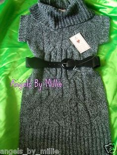HUGE 1 Day auction #sale TONS OF ITEMS! Hurry!Boutique Girls 10 12 Marled Black Cable Knit Sweater Dress Mock Turtleneck | eBay