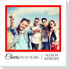 Personalized Cheers Square Frame Photo Napkins