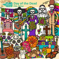Day of the Dead Clip Art: Celebrate Dia de los Muertos with your students with this authentic pack of graphics. Create exciting resources for your Spanish classes that touch upon different aspects of the holiday. Design a colorful bulletin board with the sugar skulls and skeletons.