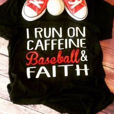 """Caffeine, Baseball & Faith"". What do you run on?? Grab this ultra soft and super comfy tee today! - 4.2 oz., 100% combed and ringspun cotton, 30 singles - Side seams, retail fit - Shoulder to shoulder taping - Unisex sizing (This design is our personal design. This design cannot be used for personal use or to sale.)"