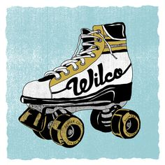 I like the roller skate illustration in this Wilco gig poster by Nate Duval.