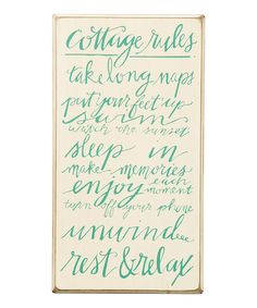 Look what I found on #zulily! 'Cottage Rules' Wall Sign by Primitives by Kathy #zulilyfinds