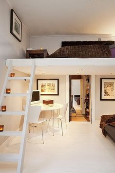 Loft bed! Great idea for a teen bedroom!