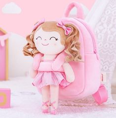 Personalized Ballerina Doll Backpack - Light Pink