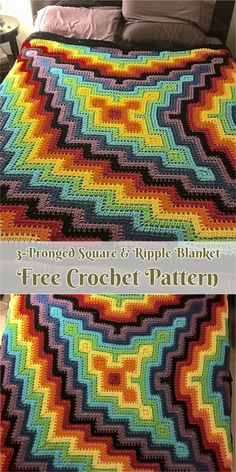 3-Pronged Square & Ripple Blanket [Free Crochet Pattern] #crochet #art #crochetlove