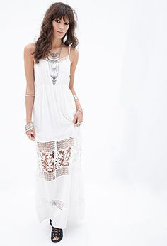 Crochet-Paneled Maxi Dress   FOREVER21 - 2000100961