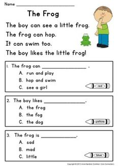 Kindergarten Reading Comprehension Passages with Multiple Choice Questions