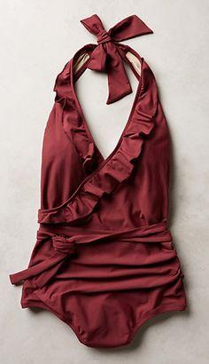 Ruffled Halter Maillot - Marsala Pantone Color of The Year (2015)