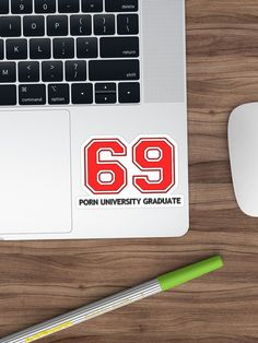 """""""69 porn university graduate"""" Sticker by cool-shirts 