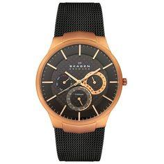 Skagen Men's 809XLTRB Titanium Collection Multifunction Black Mesh Titanium Watch $109.29