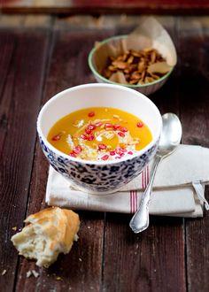zuppa di zucca arancia e melograno