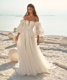 May 2020 - 19 Mar 2020 - LPG Sophie wedding dress from our Fields of Pearls Collection, an A-line silk chiffon gown with pleated bodice and puff sleeves. Ideal for a destination wedding. Stunning Wedding Dresses, Wedding Dress Trends, Dream Wedding Dresses, Wedding Gowns, Chiffon Wedding Dresses, Beach Wedding Dresses, Bridal Gowns, Silk Bridesmaid Dresses, Lace Wedding