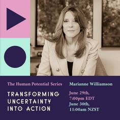 We're looking forward to hosting Marianne Williamson on The Human Potential Series online. Marianne Williamson, Author, Earth