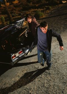 "Jensen Ackles & Jared Padalecki as Dean & Sam Winchester | Season 1 Group Shot Promo --- wow... it's already like Dean is jumping to go kill, and Sam is going: ""Dean! Wait!"" because he sees something off. These guys... wow."