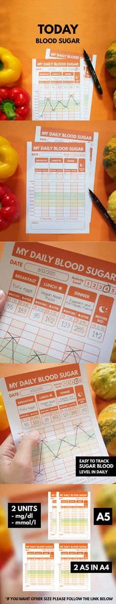 """Blood Sugar Daily Tracker Printable ▹ for Diabetes Patient  """"SECRET TO SUCCESS with diabetes is KEEPING RECORDS and learning from them"""" Let Blood Sugar Daily Tracker help you to success and keep you or your patient stay healthy. There are 2 Unit for Glucose including ▹ Glucose mmol/l  ▹ Glucose mg/dl Unit This printable come in A5(14.85x21 cm.) Size that is fit for your pocket or insert in your journal perfectly Colorful and lively design give a new experience for track Blood sugar."""