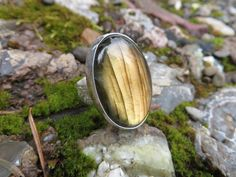 A large statement ring in labradorite by Sandy River Jewelry. Size 8, #317