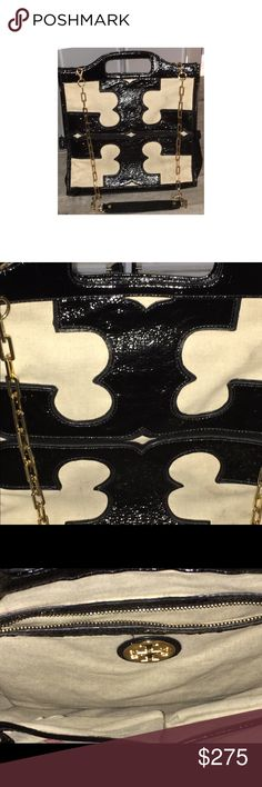 Large  Tory Burch Tote/Shoulder Bag EXCELLENT Condition.  Retails $650. This may be one of the best Tory Burch bags that have been made. Combination of canvas and patent leather with gold chain strap. Inside and outside a clean and odor free.  Expect to get compliments! This bag can be worn in a professional setting and during the day Tory Burch Bags Totes