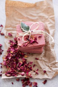 Pink clay, rosewater and Himalayan pink salt come together to make a super pretty-in-pink soap bar that makes a great gift.