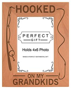 Gift for Grandpa Hooked On My Grandkids Natural Wood Engraved 4x6 Portrait Picture Frame Wood