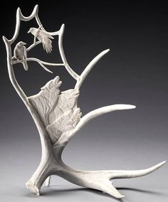 Moose Antler Sculpture - Rest and Sing, 1997 by Shane Wilson
