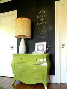 Kids Design, Pictures, Remodel, Decor and Ideas - page 5    Love this dresser! Shape, size, and color.  The chalkboard paint is kinda fun too.