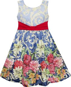Girls Dress Sleeveless Blooming Flower Garden Print Blue Size 4-12 Years