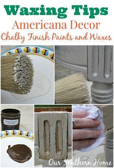 Chalk paint waxing tips and a Stool Makeover with Americana Decor Chalky Finish Paint from Our Southern Home. #chalkyfinish