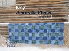 CrystelleBoutique Easy Jeans and Fleece Rag Quilt Tutorial