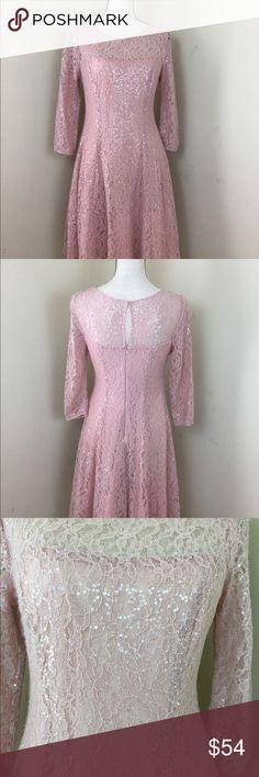 cf0c78ca3868d1 S L N Y Pink Lace Sequin Dress. Fully Lined w  part petticoat for skirt  fullness. Measurements  Flat   Length Waist Armpit to armpit SLNY Dresses