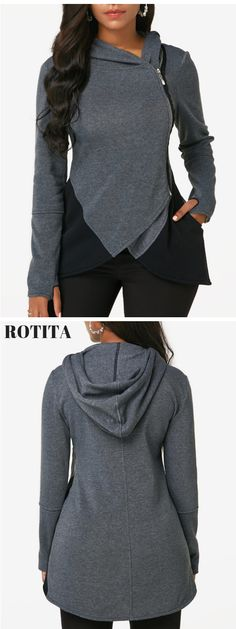 Tulip Hem Long Sleeve Zipper Up Hoodie .Casual hoodie added these days,you can pay more attention to our fall arrivals,new arrivals will added everyday. Casual Outfits, Cute Outfits, Fashion Outfits, Cosy Outfit, Sexy Blouse, Dress With Cardigan, Trendy Clothes For Women, Look Chic, Fall Winter Outfits