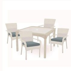 Martha Stewart Living Charlottetown White All-Weather Wicker 5-Piece Patio Dining Set with Washed Blue Cushion-65-55651W - The Home Depot