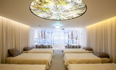 This circular fabric face #lightbox has really #transformed Champneys Spa, Forest Mere, into a tranquil and relaxing environment for it's guests